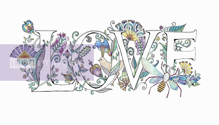 The word 'love' decorated with flowers - Hannah Davies