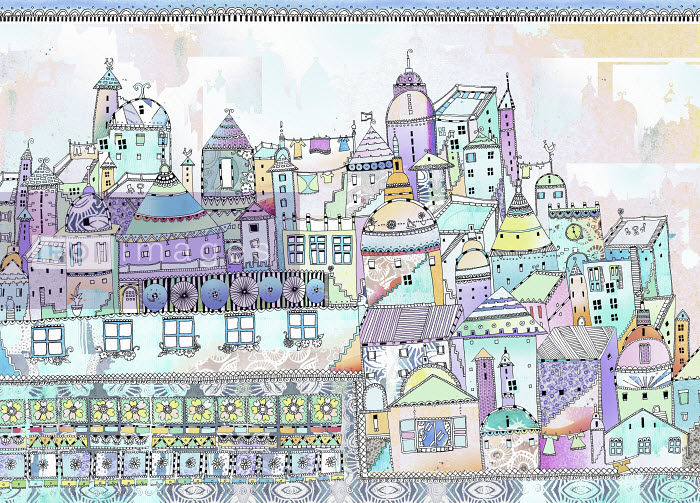 Aerial view of ornately patterned fairytale city - Hannah Davies