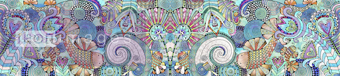 Fish and flowers in intricate symmetrical pattern - Hannah Davies