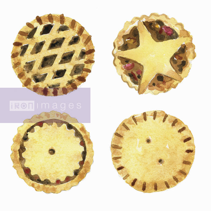Watercolor painting of mince pies with different lids - Hannah Clarke