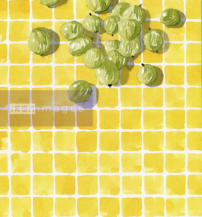 Watercolor painting of fresh gooseberries on checked tile pattern - Hannah Clarke