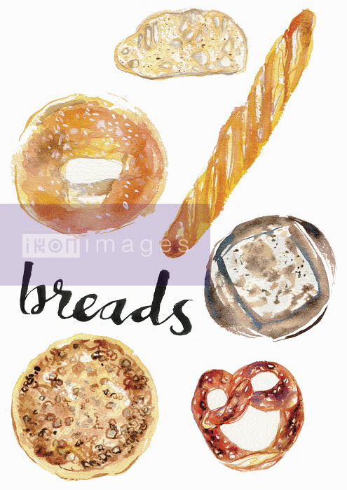Watercolour painting of different breads - Hannah Clarke