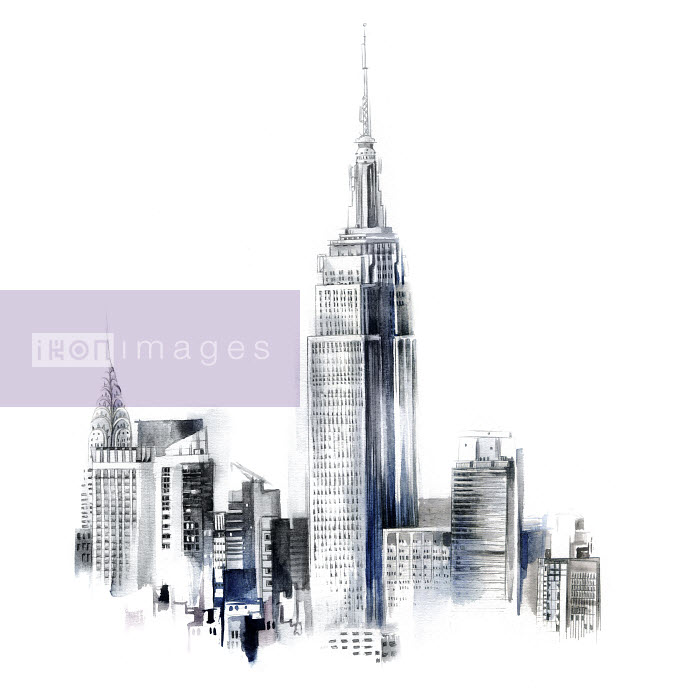 Watercolor painting of the Empire State Building and the Chrysler Building in New York City - Natalia Sanabria