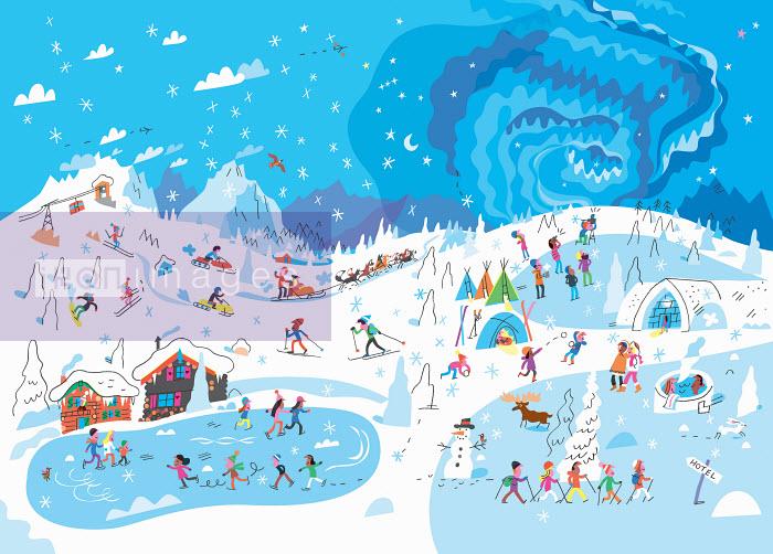 Lots of people enjoying winter activities at ski resort - Peter Allen