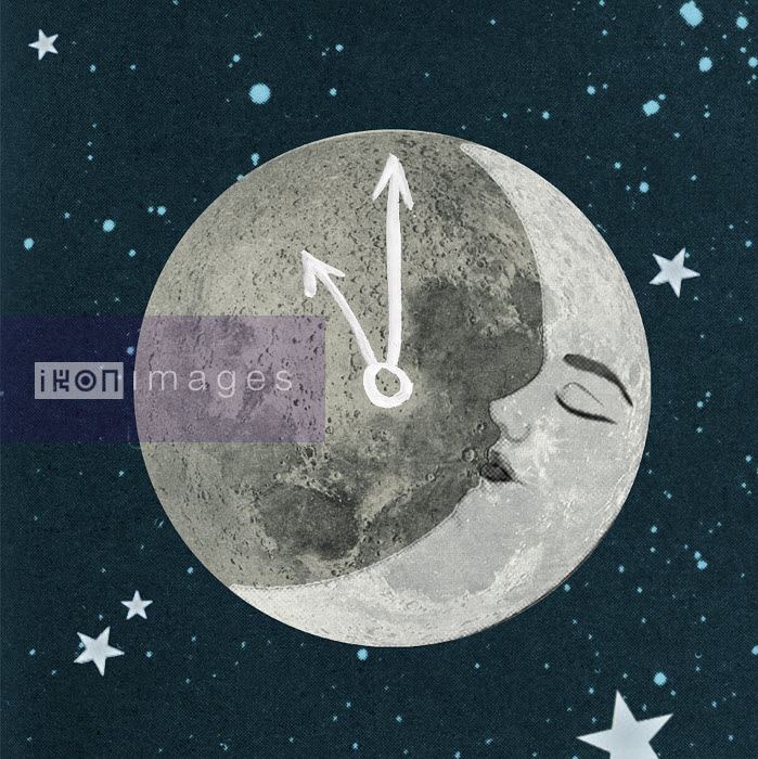Valero Doval - Sleeping face on moon with clock hands