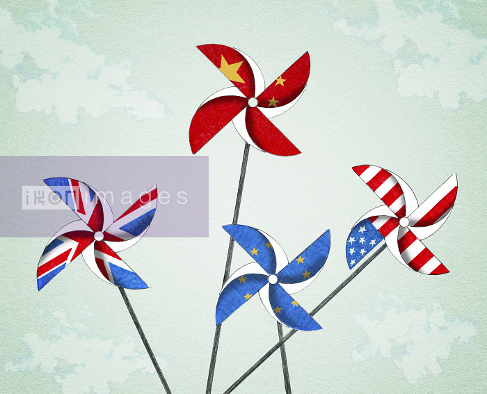 Valero Doval - Flags of United States, Britain, China and the European Union on toy windmills