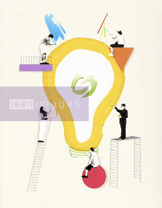 Valero Doval - Five people painting large light bulb together