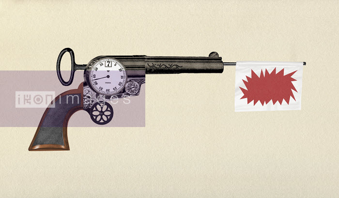 Valero Doval - Gun with countdown timer and bang flag