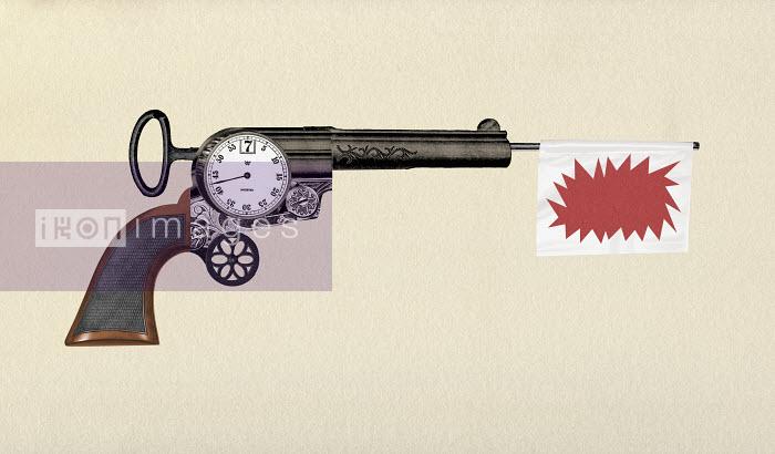 Gun with countdown timer and bang flag - Gun with countdown timer and bang flag - Valero Doval