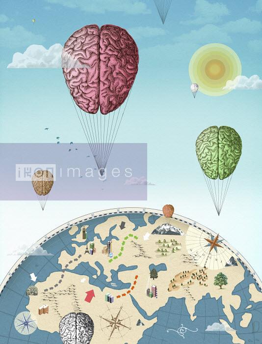 Valero Doval - Human brain hot air balloons circling globe