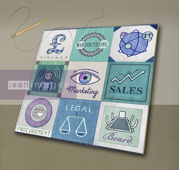 Valero Doval - Sewing needle joining business organization in synergy patchwork quilt