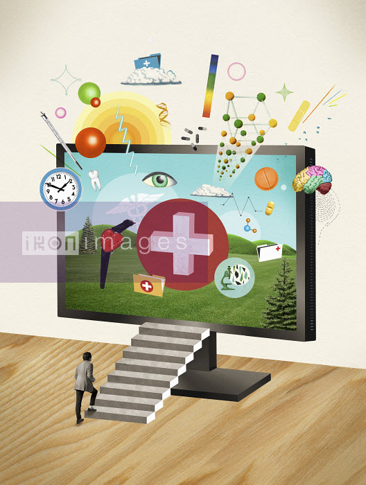 Valero Doval - Man stepping on stairs towards medical symbols on monitor