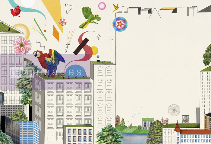 Valero Doval - Vibrant birds flying from city rooftops with people on it