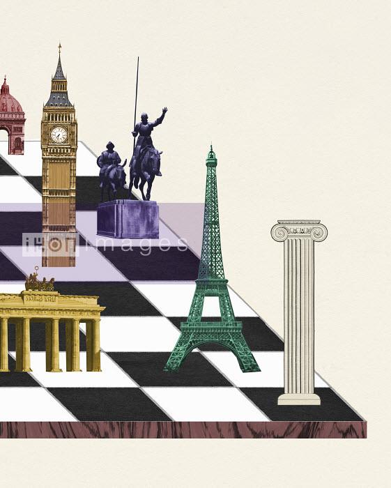 Valero Doval - European landmarks on chessboard