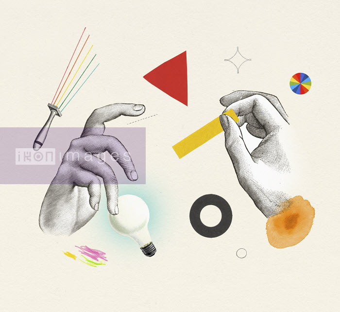 Valero Doval - Collage with hands, tools and shapes