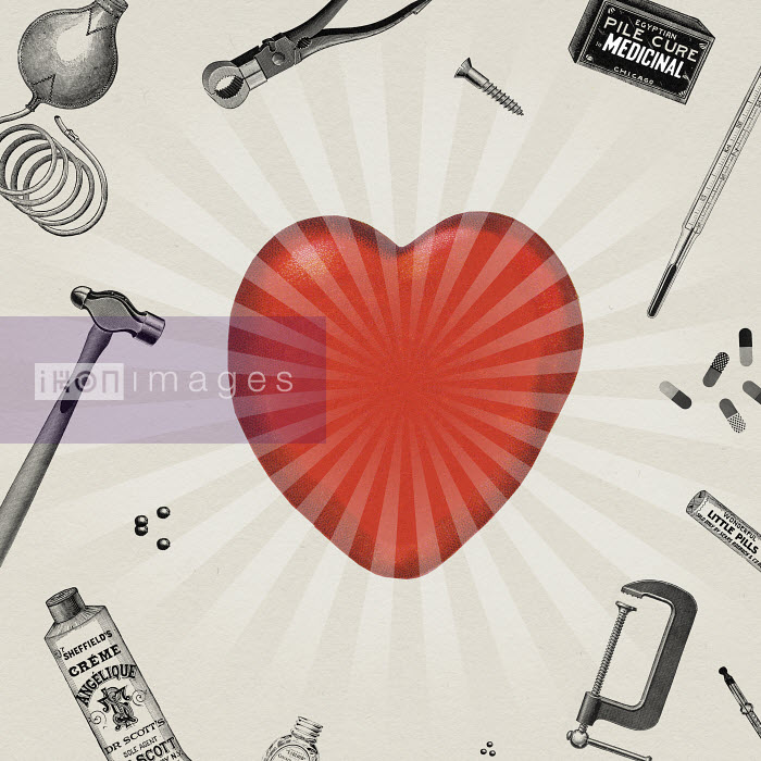 Valero Doval - Tools and remedies surrounding glowing heart