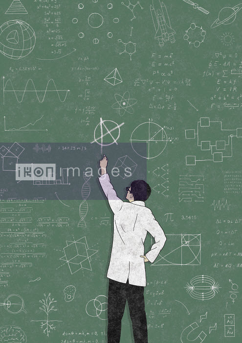 Robbie Porter - Scientist drawing anarchy symbol on blackboard covered in formula