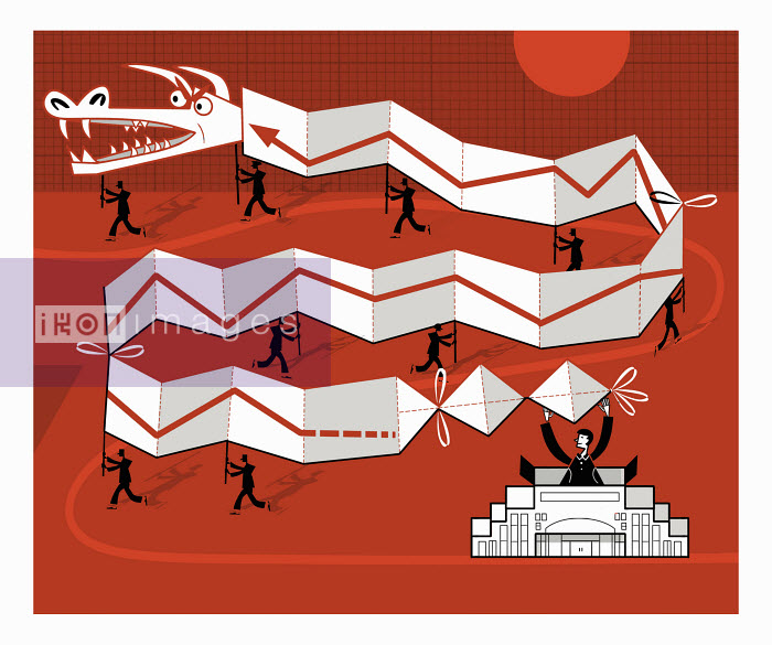 Ian Whadcock - People running with Chinese dragon with line graph on it