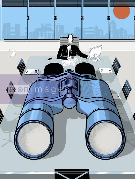 Ian Whadcock - Businessman in conference room with large binoculars on table