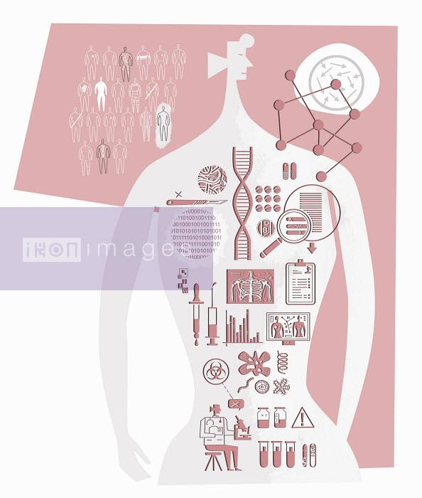 Medical symbols inside woman's body - Medical symbols inside woman's body - Ian Whadcock