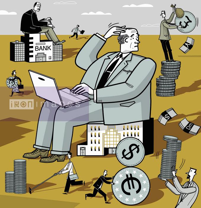 Ian Whadcock - People running with money around bank buildings