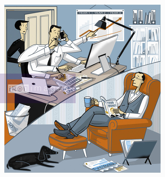 Ian Whadcock - Relaxed man reading financial magazine in contrast to busy man with lots of information