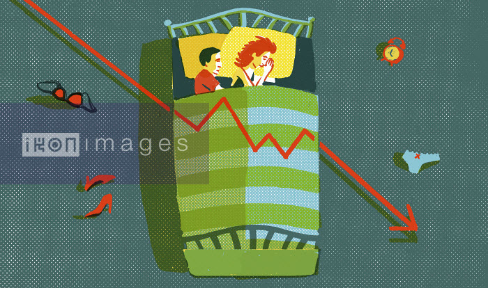 Daniel Haskett - Couple lying in bed with decreasing line graph
