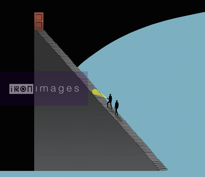 Nick Lowndes - Two men with torch walking up stairs towards door