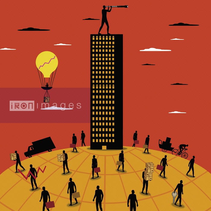 Nick Lowndes - Man on top of skyscraper looking through telescope with people walking on globe