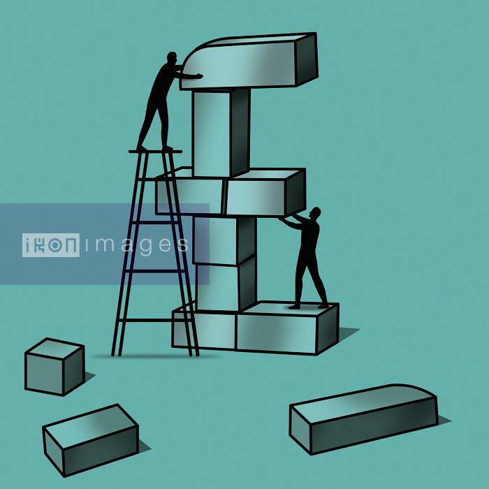 Silhouette of two men stacking blocks - Silhouette of two men stacking blocks - Nick Lowndes