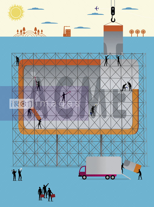 Workers building up large billboard - Workers building up large billboard - Nick Lowndes