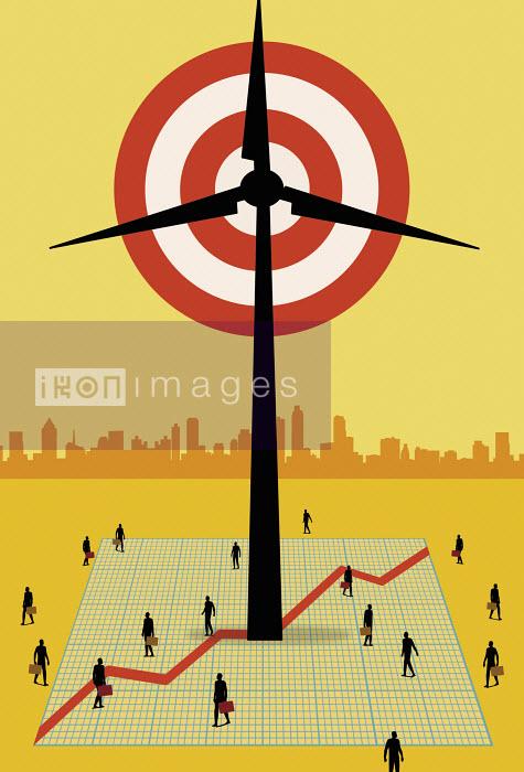 Target in wind turbine with businesspeople people below - Target in wind turbine with businesspeople people below - Nick Lowndes