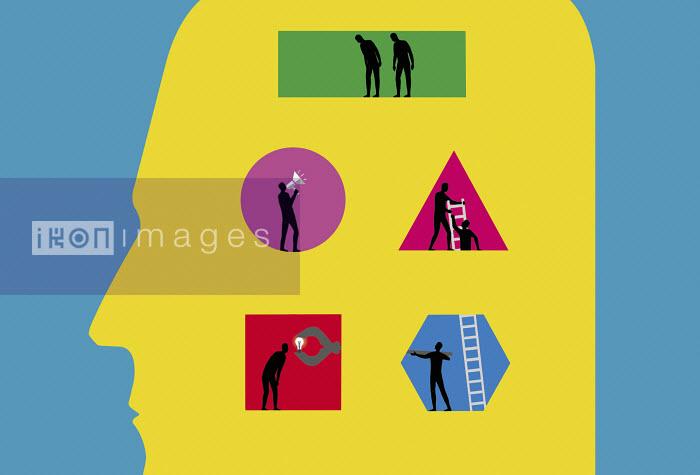 Figures collaborating inside man's head - Figures collaborating inside man's head - Nick Lowndes
