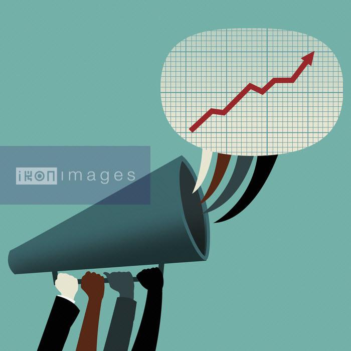 Four hands holding megaphone communication growth - Four hands holding megaphone communication growth - Nick Lowndes