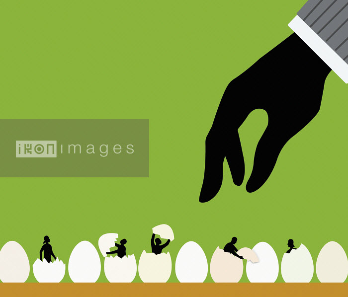 Large hand above people hatching from eggs - Large hand above people hatching from eggs - Nick Lowndes