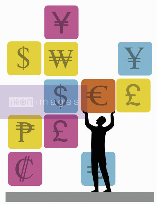 Man lifting Euro symbol surrounded by other currency symbols - Man lifting Euro symbol surrounded by other currency symbols - Nick Lowndes