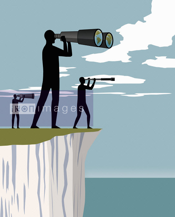 Three people standing on cliff looking through telescopes - Three people standing on cliff looking through telescopes - Nick Lowndes