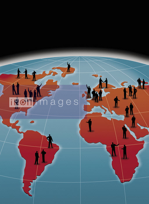 People on world map communicate from continent to continent - People on world map communicate from continent to continent - Nick Lowndes