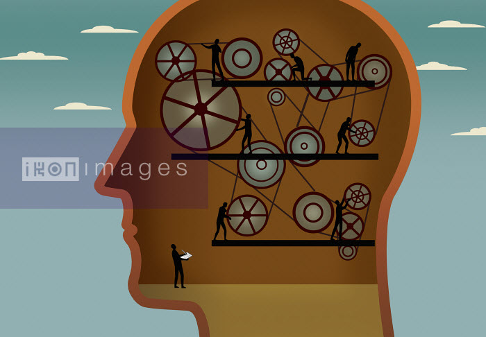People checking machinery inside man's head - People checking machinery inside man's head - Nick Lowndes