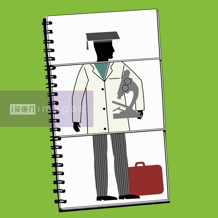 Collage of graduate, scientist and businessman on ring binder - Collage of graduate, scientist and businessman on ring binder - Nick Lowndes