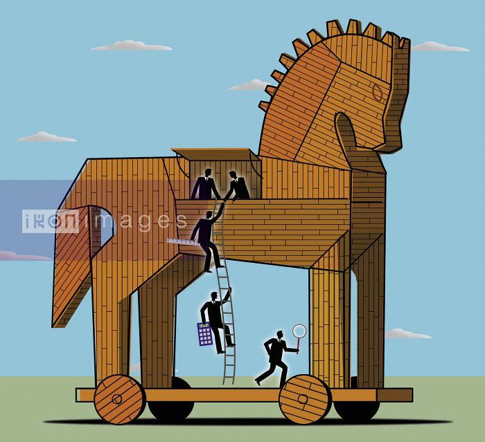 Businessmen leaving Trojan horse - Businessmen leaving Trojan horse - Nick Lowndes