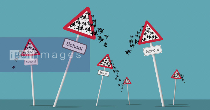 Figures falling out of school attention sign - Figures falling out of school attention sign - Nick Lowndes