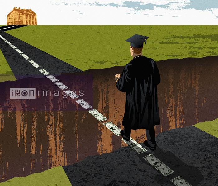 Graduate walking on dollar bills over crevice - Graduate walking on dollar bills over crevice - Taylor Callery