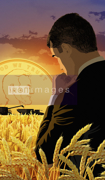 Thoughtful businessman in cornfield with dollar sunset - Thoughtful businessman in cornfield with dollar sunset - Taylor Callery