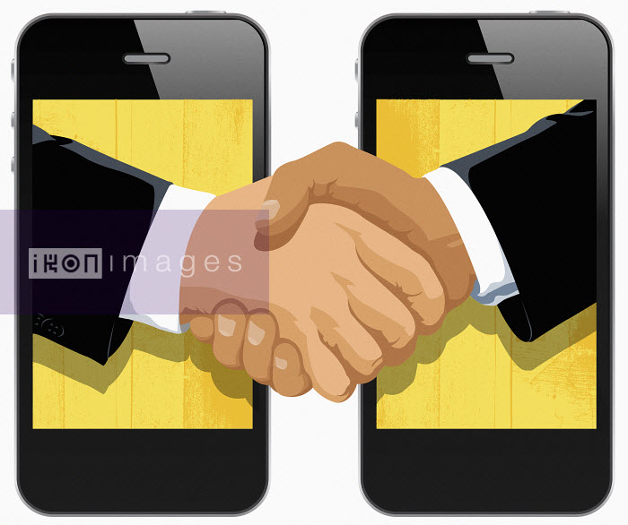Two businessmen shaking hands in cell phone displays - Two businessmen shaking hands in cell phone displays - Taylor Callery