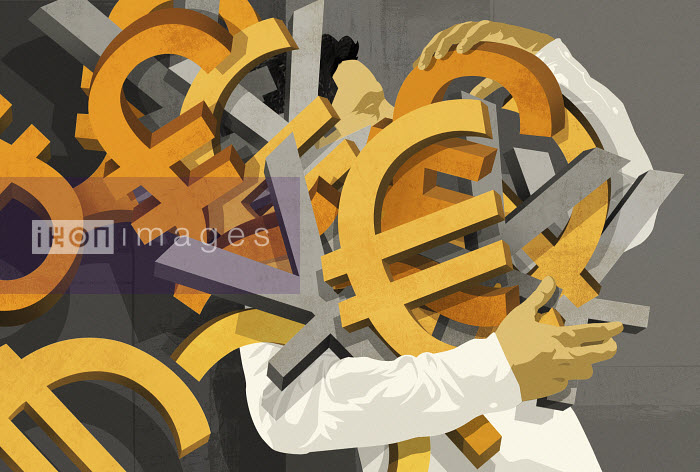 Man carrying large group of currency symbols - Man carrying large group of currency symbols - Taylor Callery