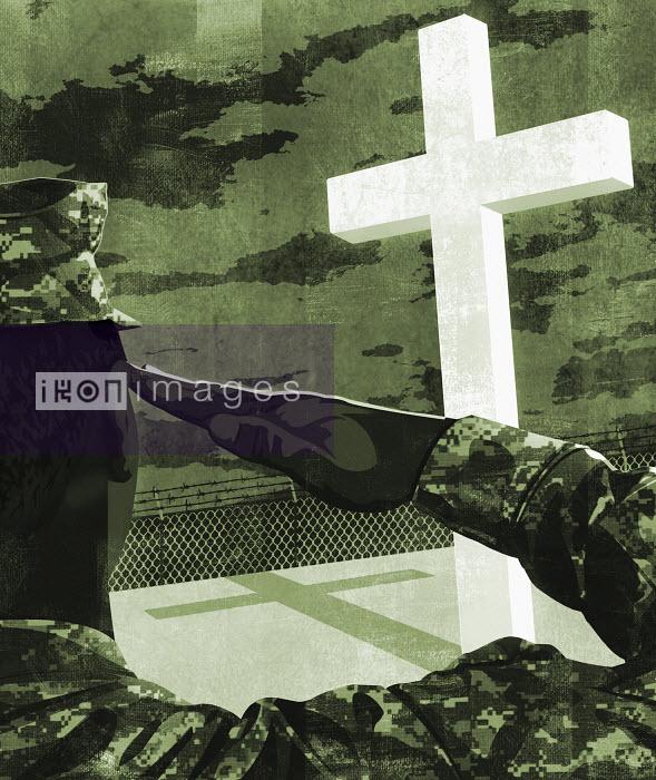 Soldier saluting towards Christian cross - Soldier saluting towards Christian cross - Taylor Callery