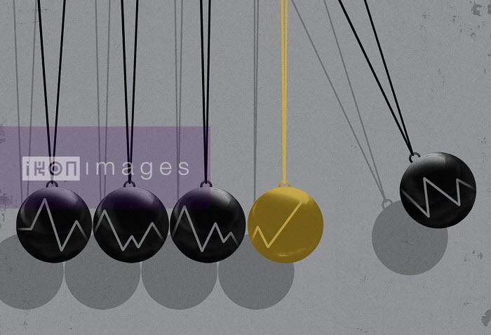 Line graphs on Newton's cradle spheres - Line graphs on Newton's cradle spheres - Taylor Callery