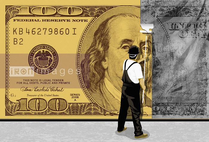 Painter turning 100 dollar bill form gray into beige - Painter turning 100 dollar bill form gray into beige - Taylor Callery
