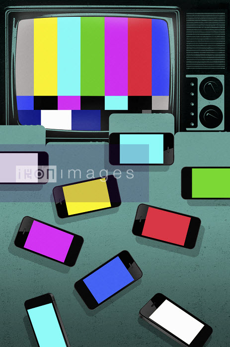 Test pattern on old tv in contrast to multicolored smartphone displays - Test pattern on old tv in contrast to multicolored smartphone displays - Taylor Callery